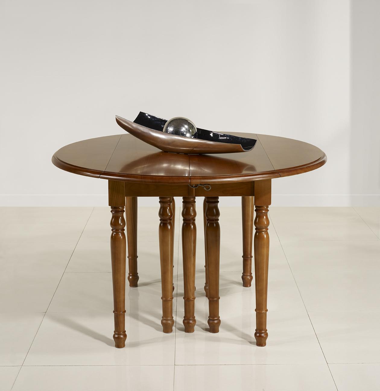 Table ronde volets diametre 120 en merisier massif de - Table ronde meuble ...