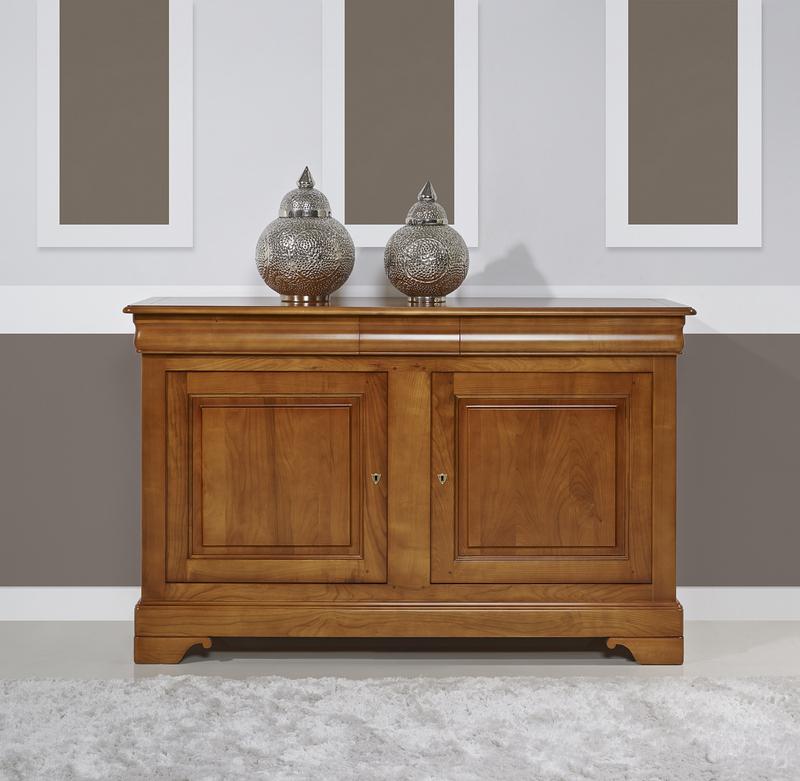 Buffet 2 portes 3 tiroirs en merisier massif de style louis philippe meuble en merisier massif - Petit meuble merisier louis philippe ...