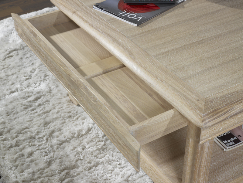 Tr s belle table basse carr e bruno en ch ne de style - Table basse bois blanchi ...