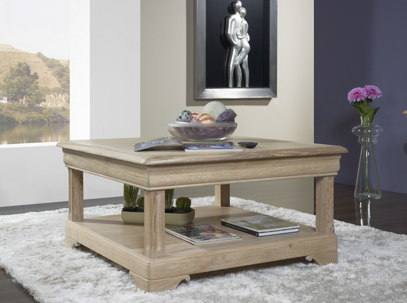 Tr s belle table basse carr e bruno en ch ne de style - Table basse carree chene massif ...