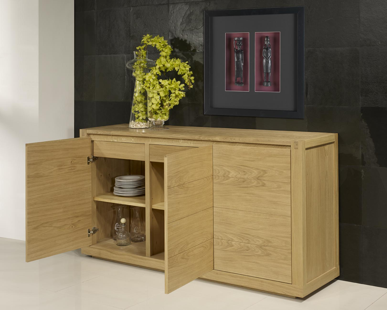 Buffet 3 portes mathis en ch ne de style contemporain finition ch ne bross n - Buffet bois contemporain ...