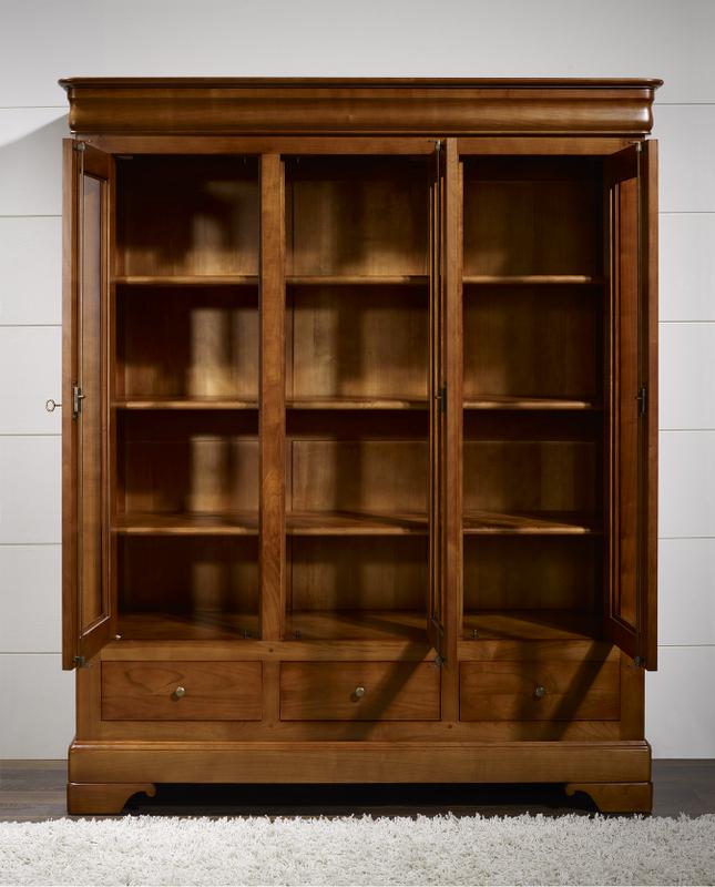 biblioth que 3 portes 3 tiroirs thomas en merisier massif de style louis philippe meuble en. Black Bedroom Furniture Sets. Home Design Ideas