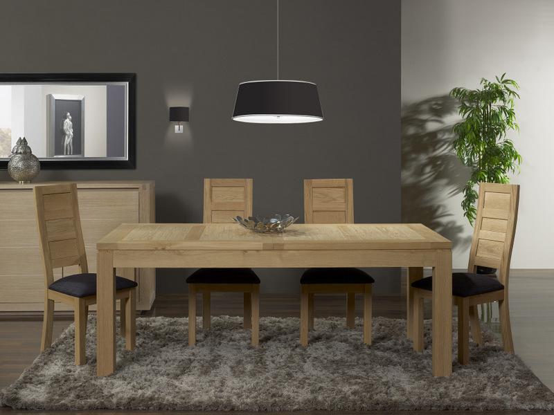 table contemporaine chene massif. Black Bedroom Furniture Sets. Home Design Ideas