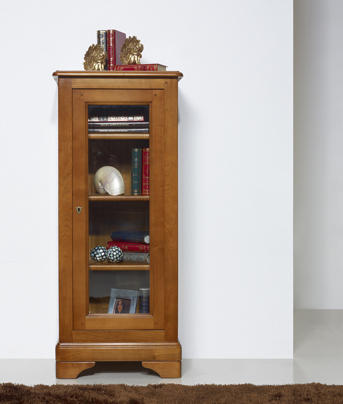 vitrine 1 porte virginie en merisier massif de style louis philippe meuble en merisier massif. Black Bedroom Furniture Sets. Home Design Ideas