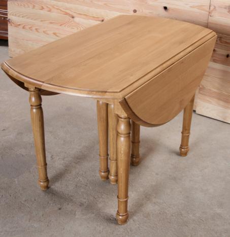 Table ronde volets diametre 120 en ch ne massif de style - Table ronde avec allonges ...