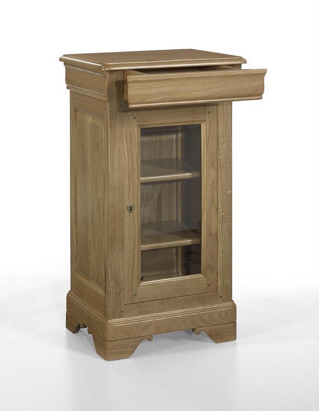 Petite vitrine 1 porte 1 tiroir en ch ne massif de style for Petite porte bois