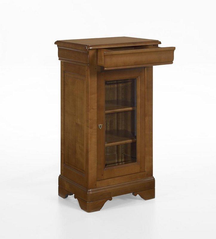 Petite vitrine 1 porte 1 tiroir en merisier massif de for Petite porte bois