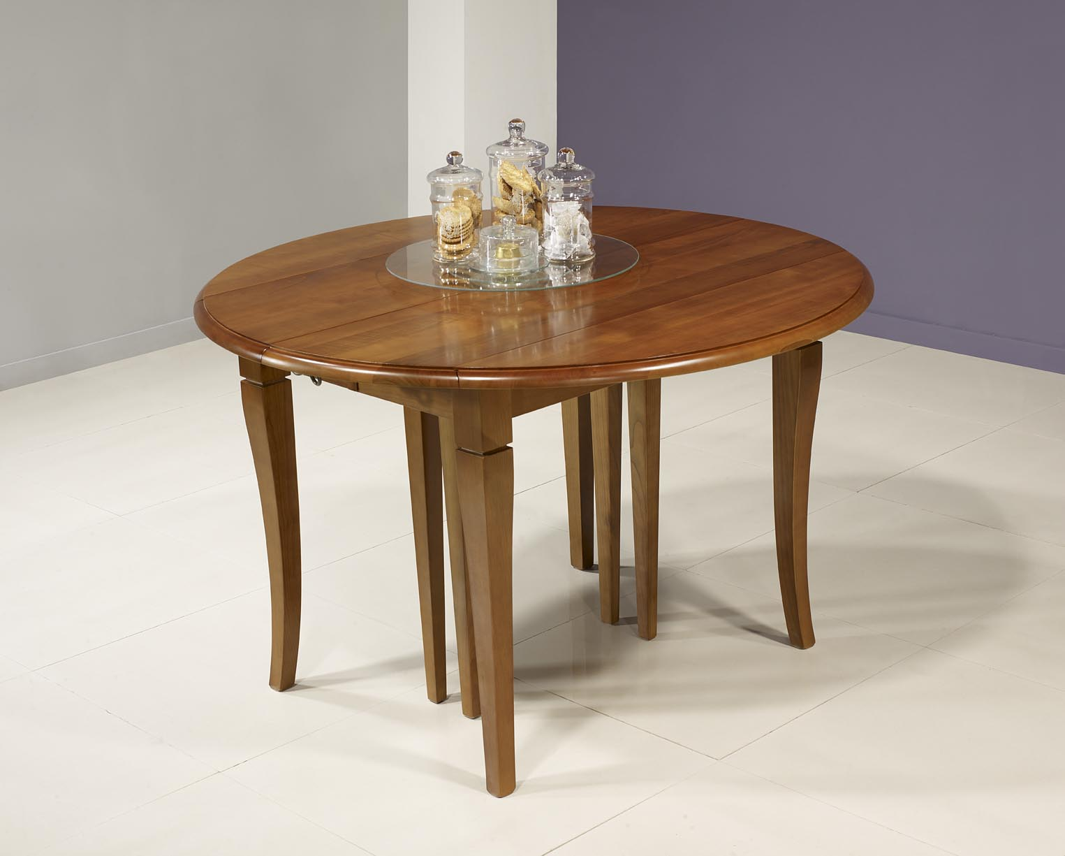 Table ronde volets diametre 110 en merisier massif de - Table ronde 110 cm ...