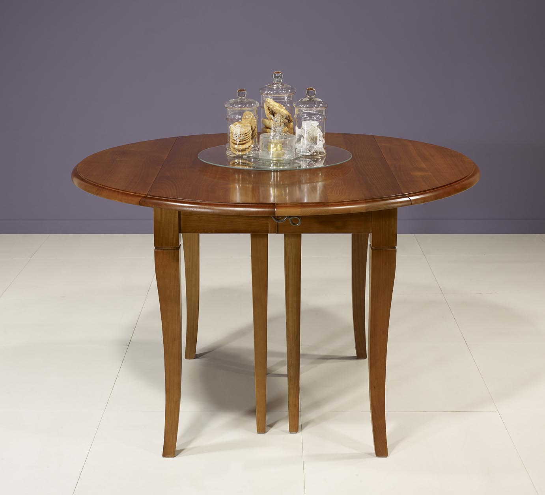 Table ronde volets diametre 110 en merisier massif de - Table ronde meuble ...