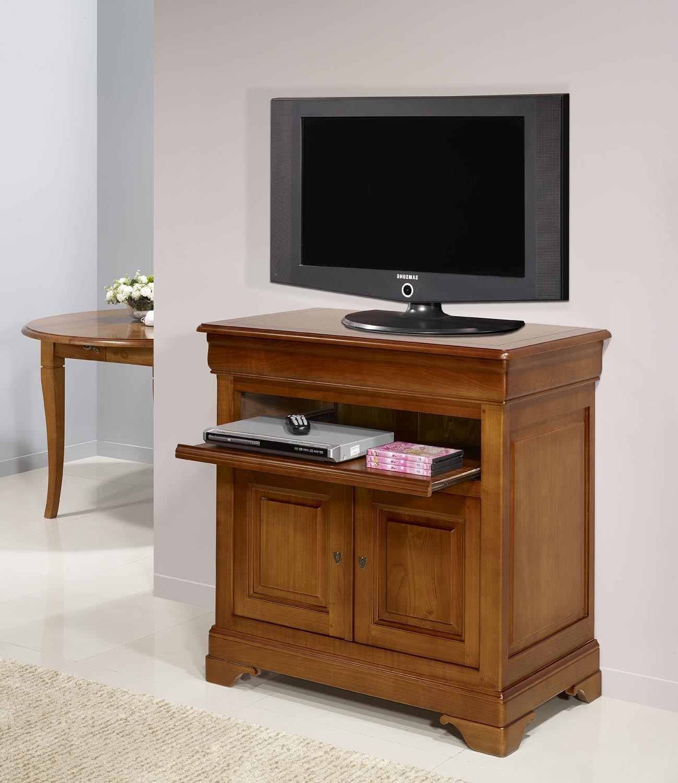 Meuble Tv 2 Portes Le En Merisier Massif De Style Louis Philippe  # Meuble Tv Porte Vitree