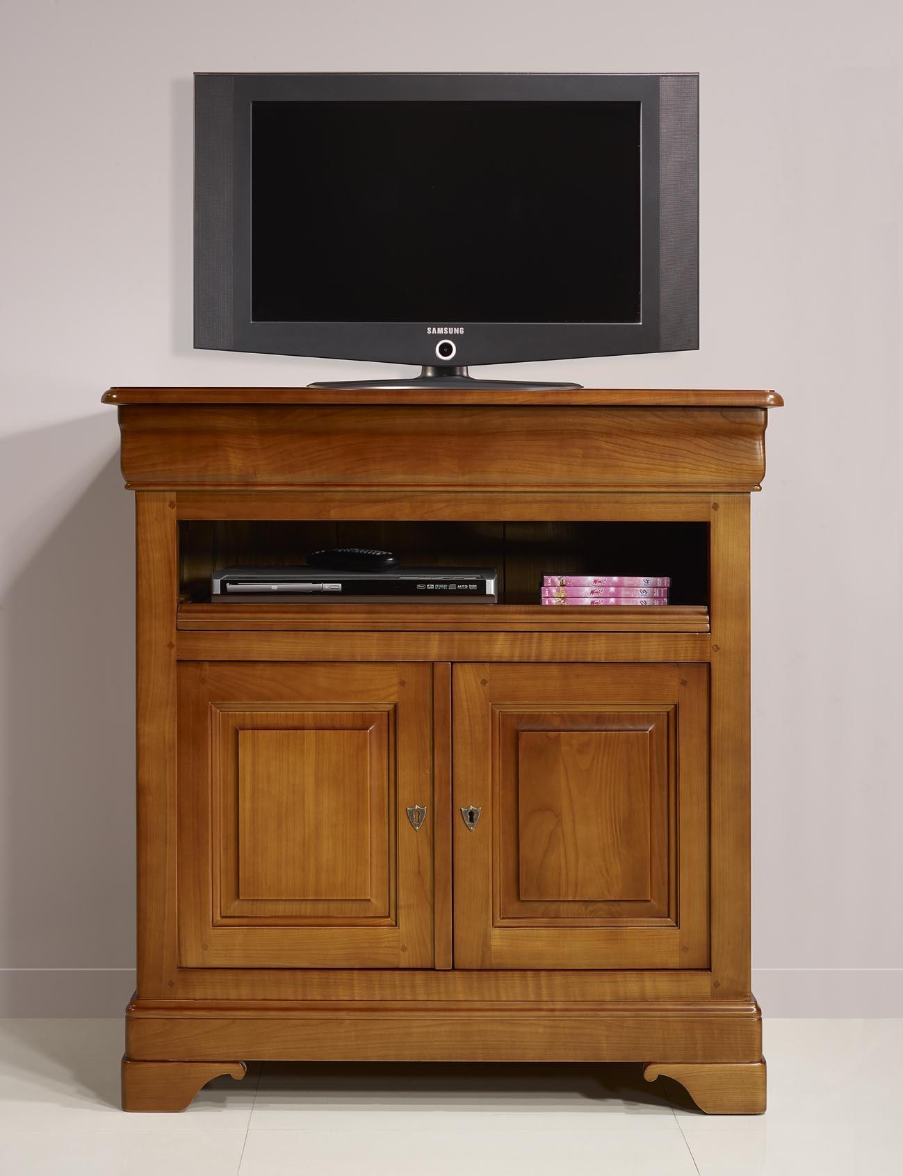 Meuble Tv 2 Portes Le En Merisier Massif De Style Louis Philippe  # Meubles Louis Philippe