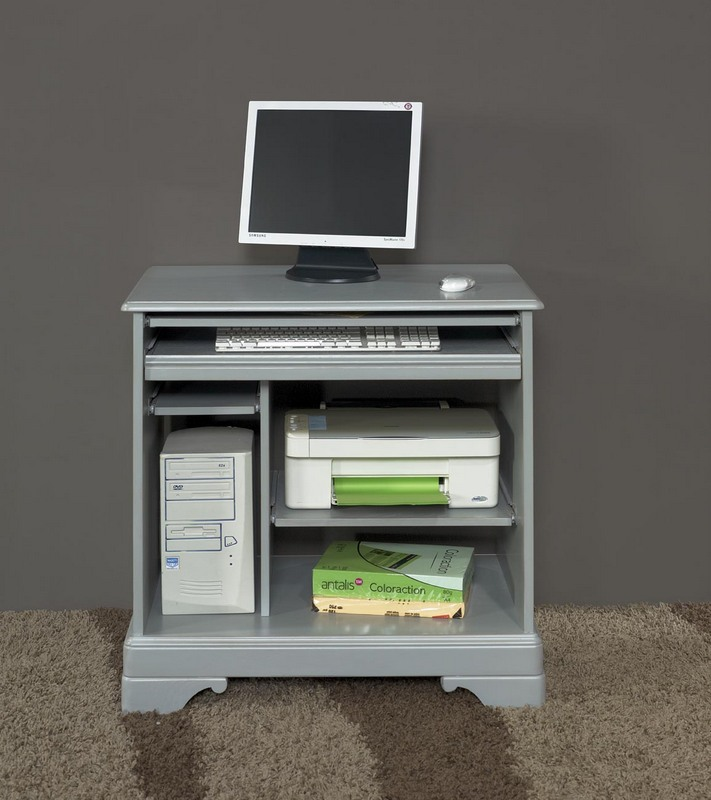 Bureau informatique en merisier de style louis philippe laqu gris us meub - Meuble informatique bois massif ...