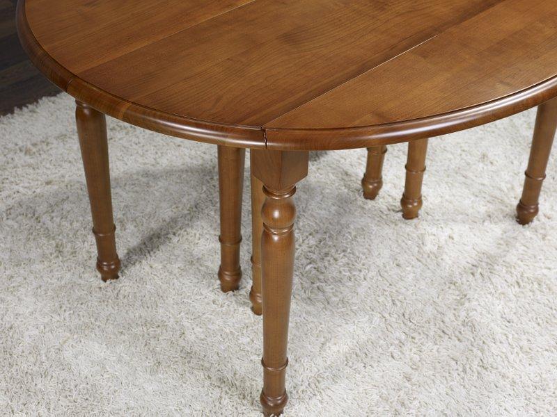 Table ovale volets 135x110 en merisier de style louis for Table ovale en bois
