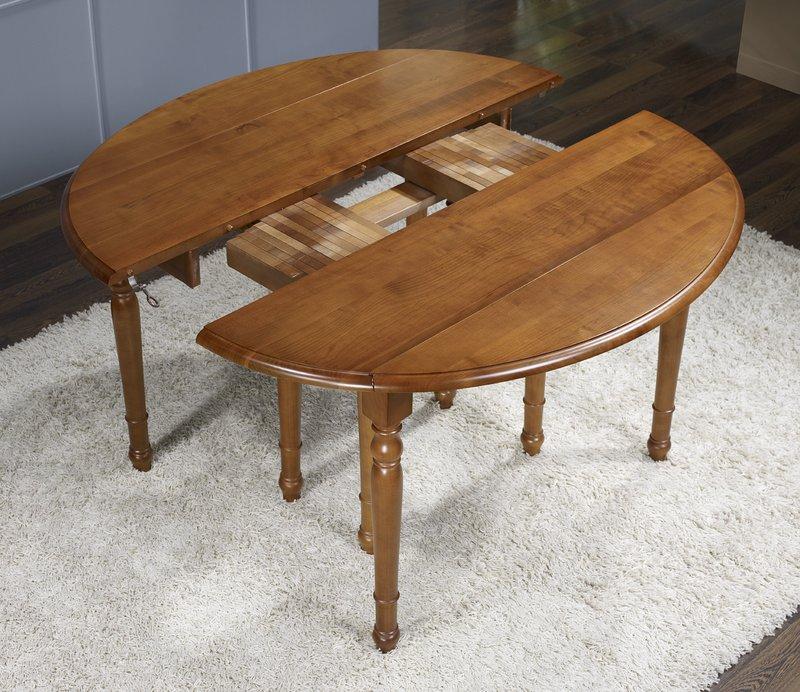 Table ovale volets 135x110 en merisier de style louis for Table en verre ovale avec rallonge