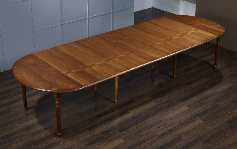 table ovale volets 135x110 en merisier de style louis philippe avec 7 allonges de 40 cm. Black Bedroom Furniture Sets. Home Design Ideas