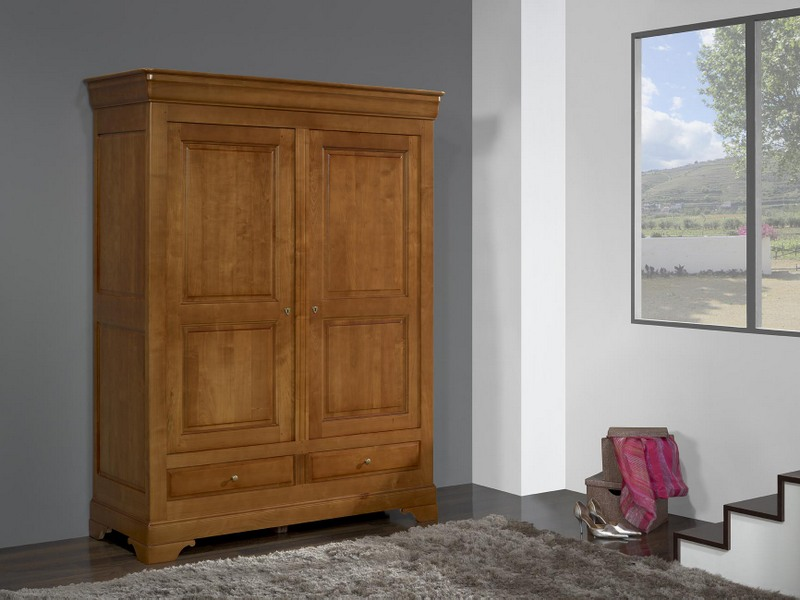 armoire 2 portes 2 tiroirs odile en merisier massif de style louis philippe meuble en merisier. Black Bedroom Furniture Sets. Home Design Ideas