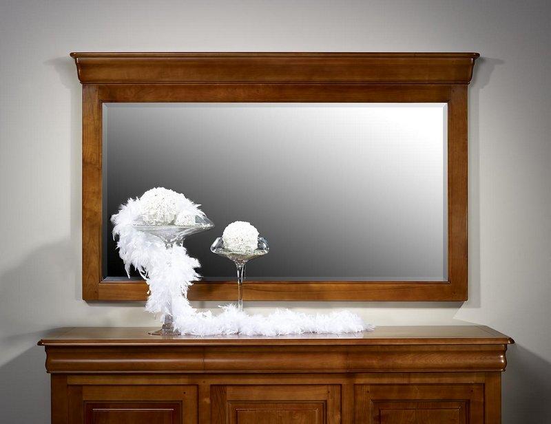 Miroir pour buffet 3 portes en merisier massif de style for Miroir pour chambre