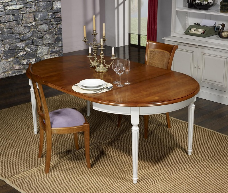 table ronde 4 pieds diane en merisier massif de style louis xvi diam tre 120 ceinture et pieds. Black Bedroom Furniture Sets. Home Design Ideas