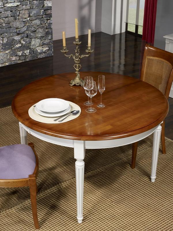 Table ronde 4 pieds diane en merisier massif de style for Table 4 pieds