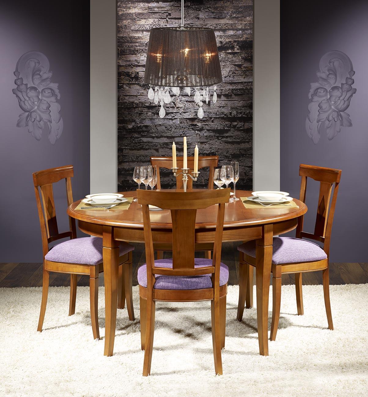 Table ronde johanna en merisier massif de style louis - Table ronde style louis philippe ...