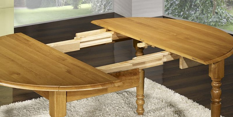 Table ronde volets en ch ne massif de style louis for Table ronde 110 cm avec rallonge