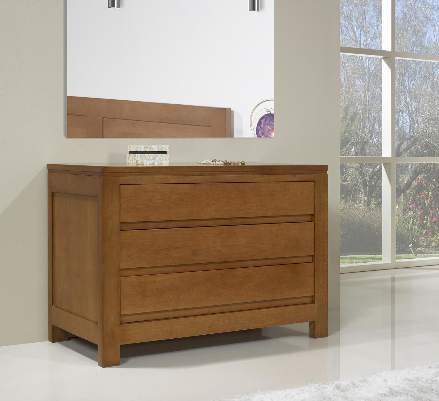 Commode 3 tiroirs en ch ne massif de style contemporain - Meuble contemporain bois massif ...