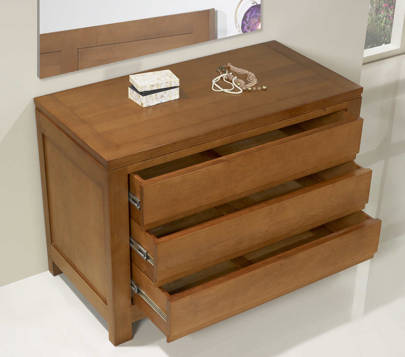 Commode 3 Tiroirs En Ch Ne Massif De Style Contemporain