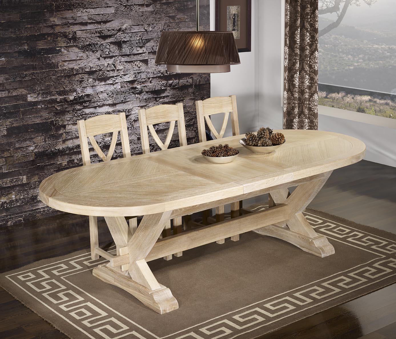 table monast re olivier 220x120 en ch ne massif 2 allonges. Black Bedroom Furniture Sets. Home Design Ideas