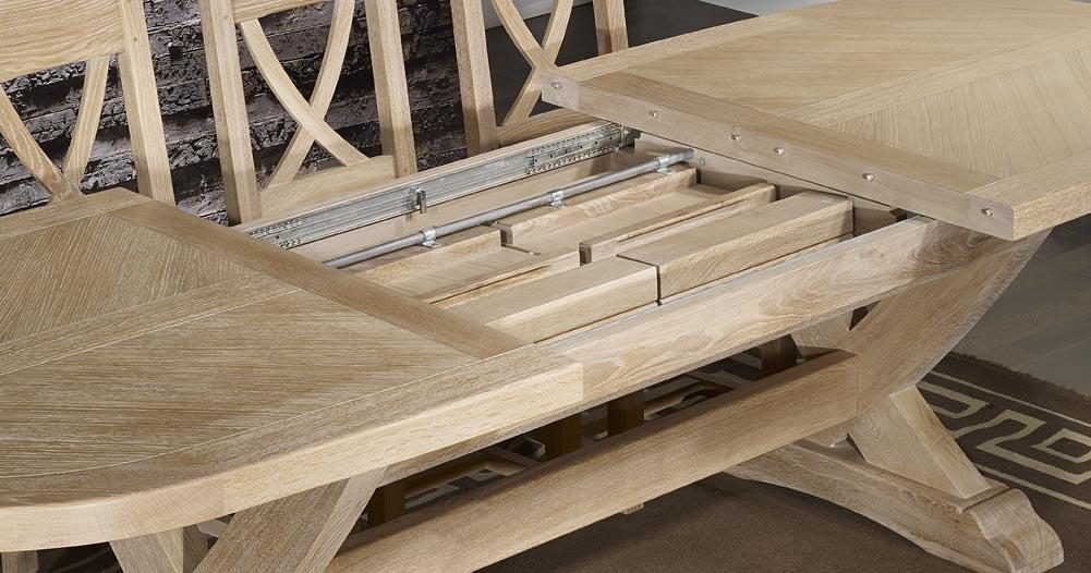 table monast re olivier 220x120 en ch ne massif 2 allonges portefeuille de 45 cm finition ch ne. Black Bedroom Furniture Sets. Home Design Ideas