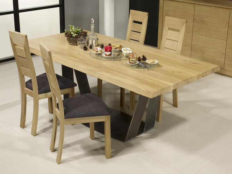 table rectangulaire ndre en ch ne et m tal epaisseur du plateau 5 cm meuble en ch ne massif. Black Bedroom Furniture Sets. Home Design Ideas
