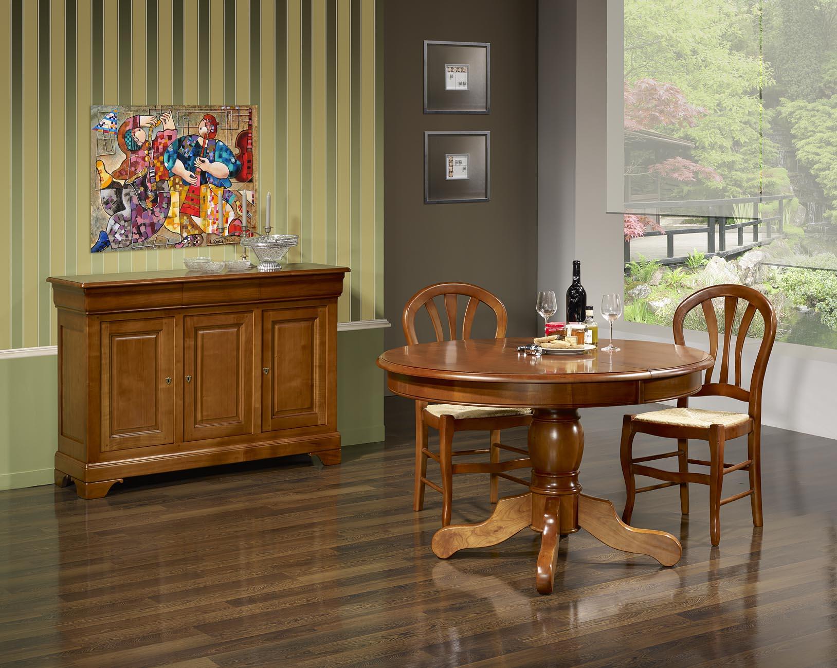 9438be2664186 Table ronde pied central Bérangère en Merisier Massif de style Louis  Philippe Diamètre 120 3 allonges de 40 cm