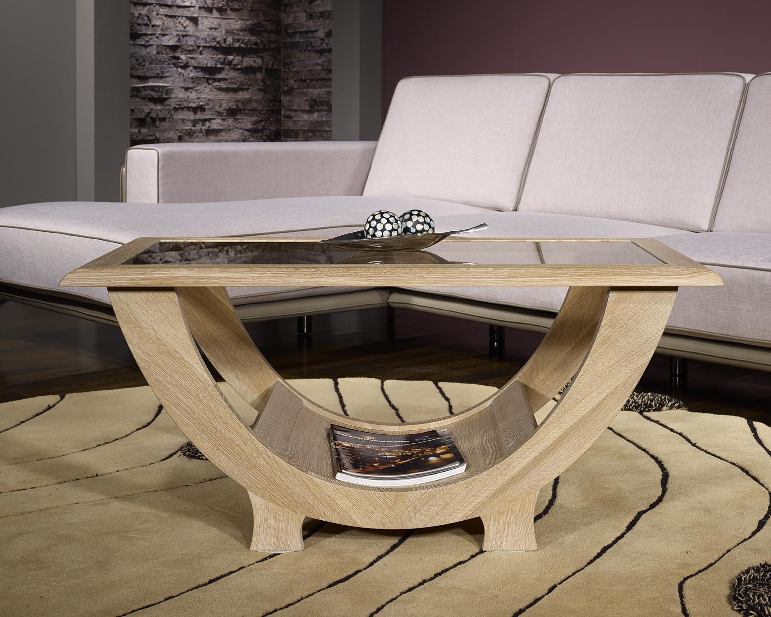 table basse rodrigue en ch ne massif plateau verre finition ch ne bross blanchi meuble en. Black Bedroom Furniture Sets. Home Design Ideas