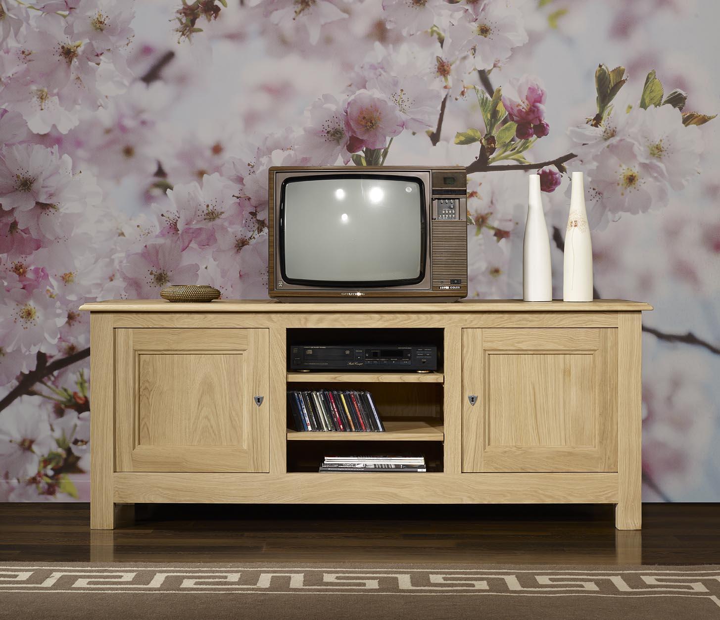 Meuble Tv 16 9eme Amaury En Ch Ne Massif De Style Campagnard  # Meuble Tv Naturel