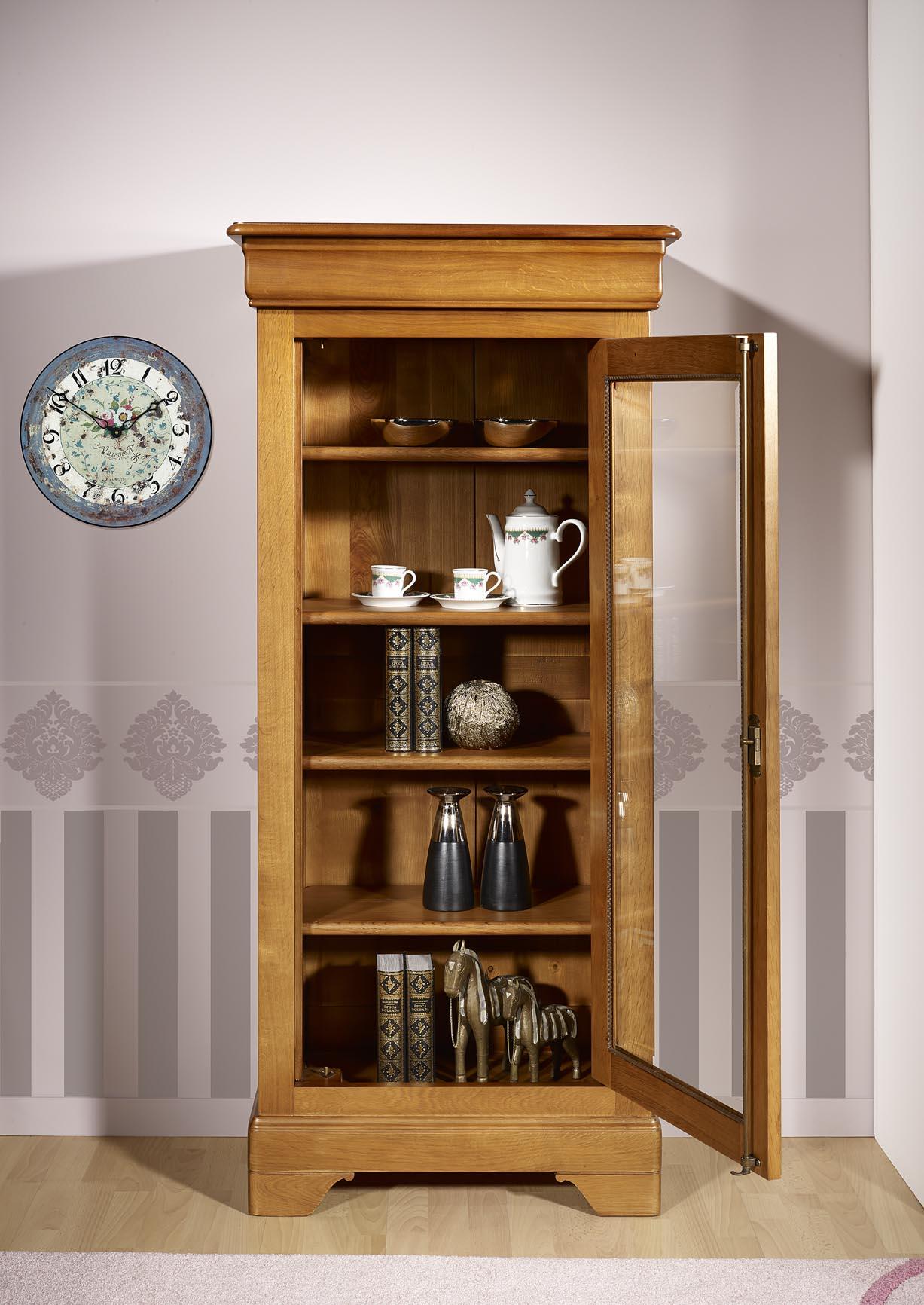 vitrine 1 porte angelo en ch ne massif de style louis philippe meuble en ch ne massif. Black Bedroom Furniture Sets. Home Design Ideas