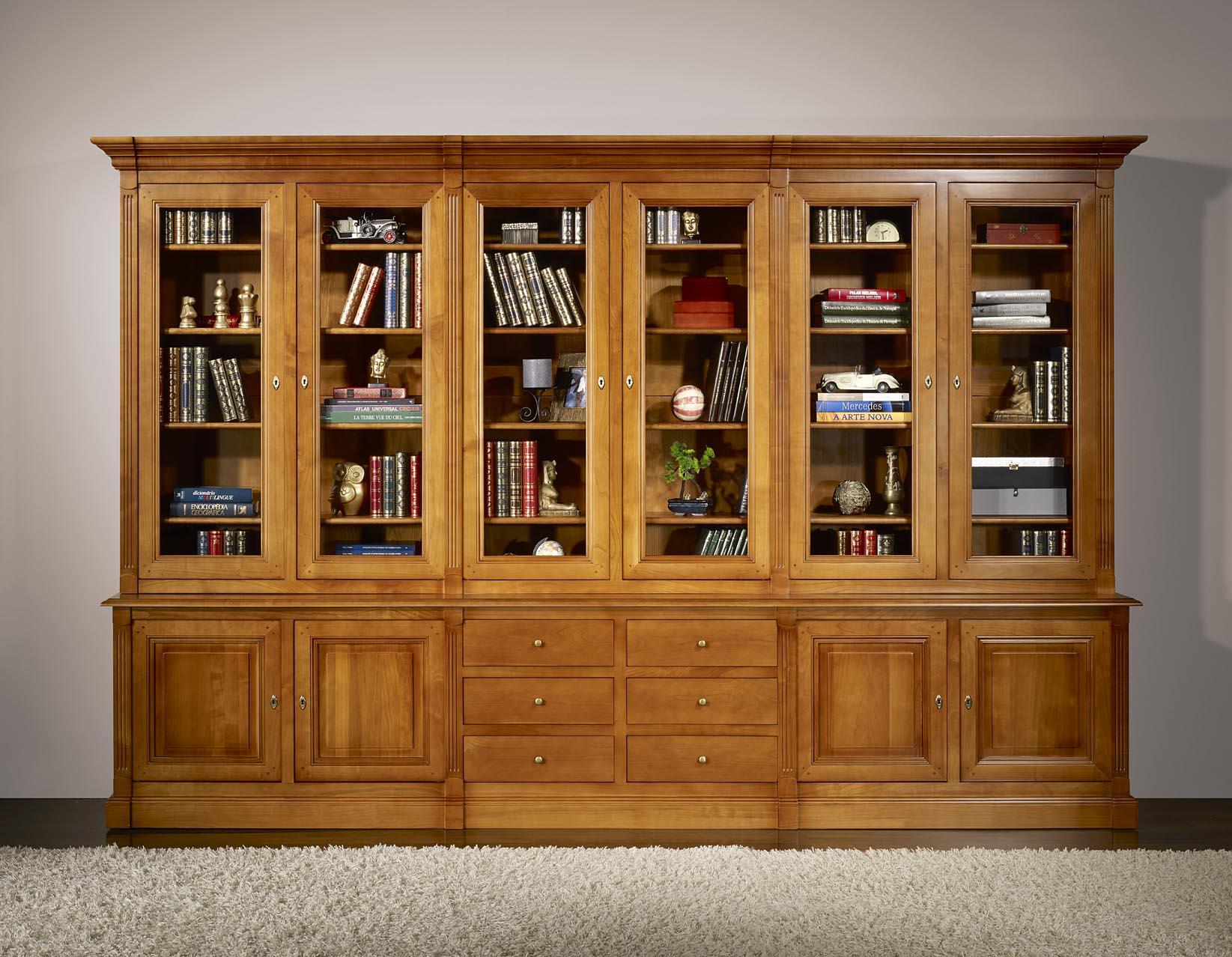 Biblioth que 2 corps 6 portes sabine en merisier massif de style directoire meuble en merisier - Bibliotheque en bois ...