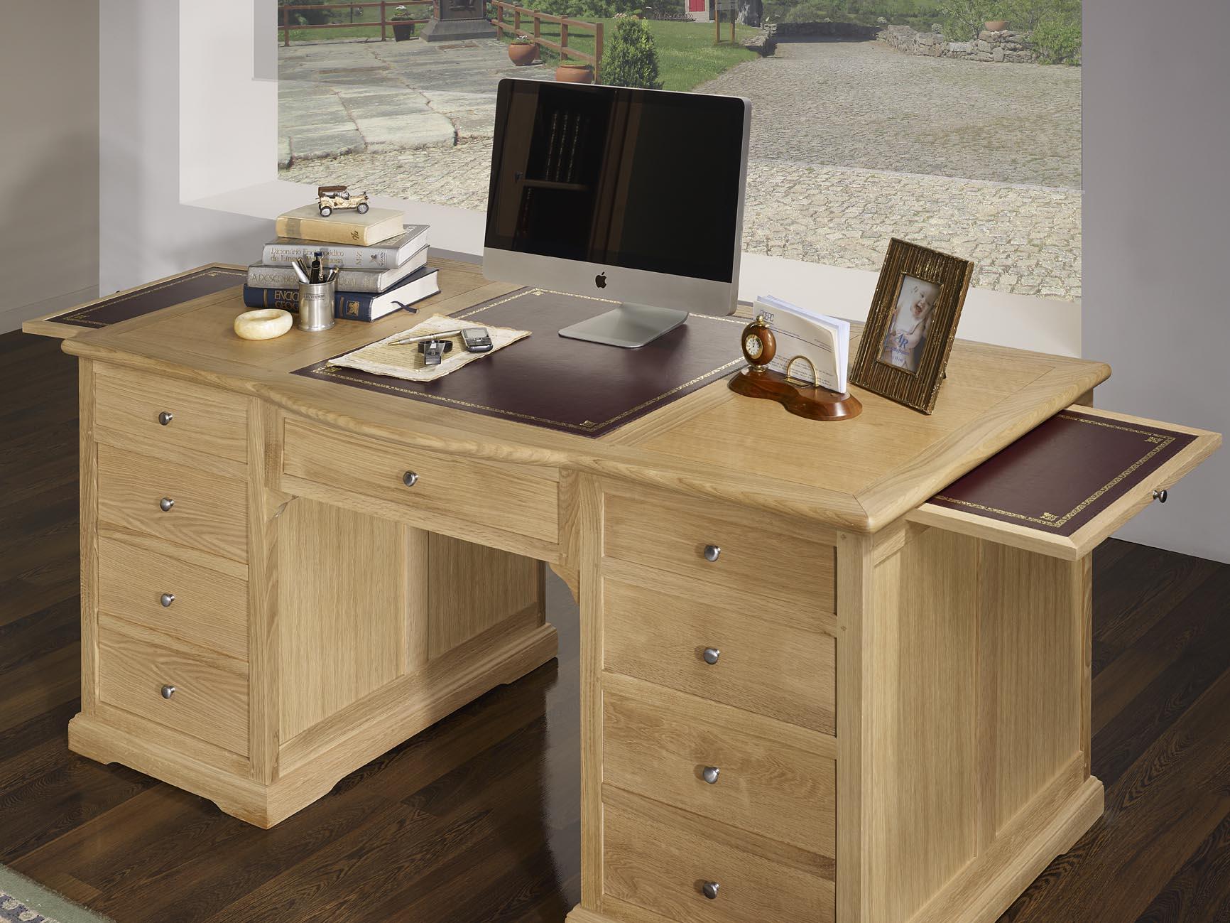 Meuble bureau bois massif meuble fer forgé cdk