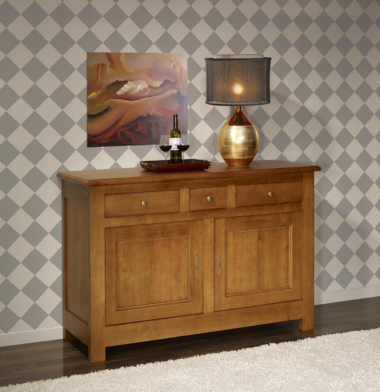 Buffet 2 portes en ch ne massif de style campagnard meuble en ch ne massif - Meuble style campagnard ...