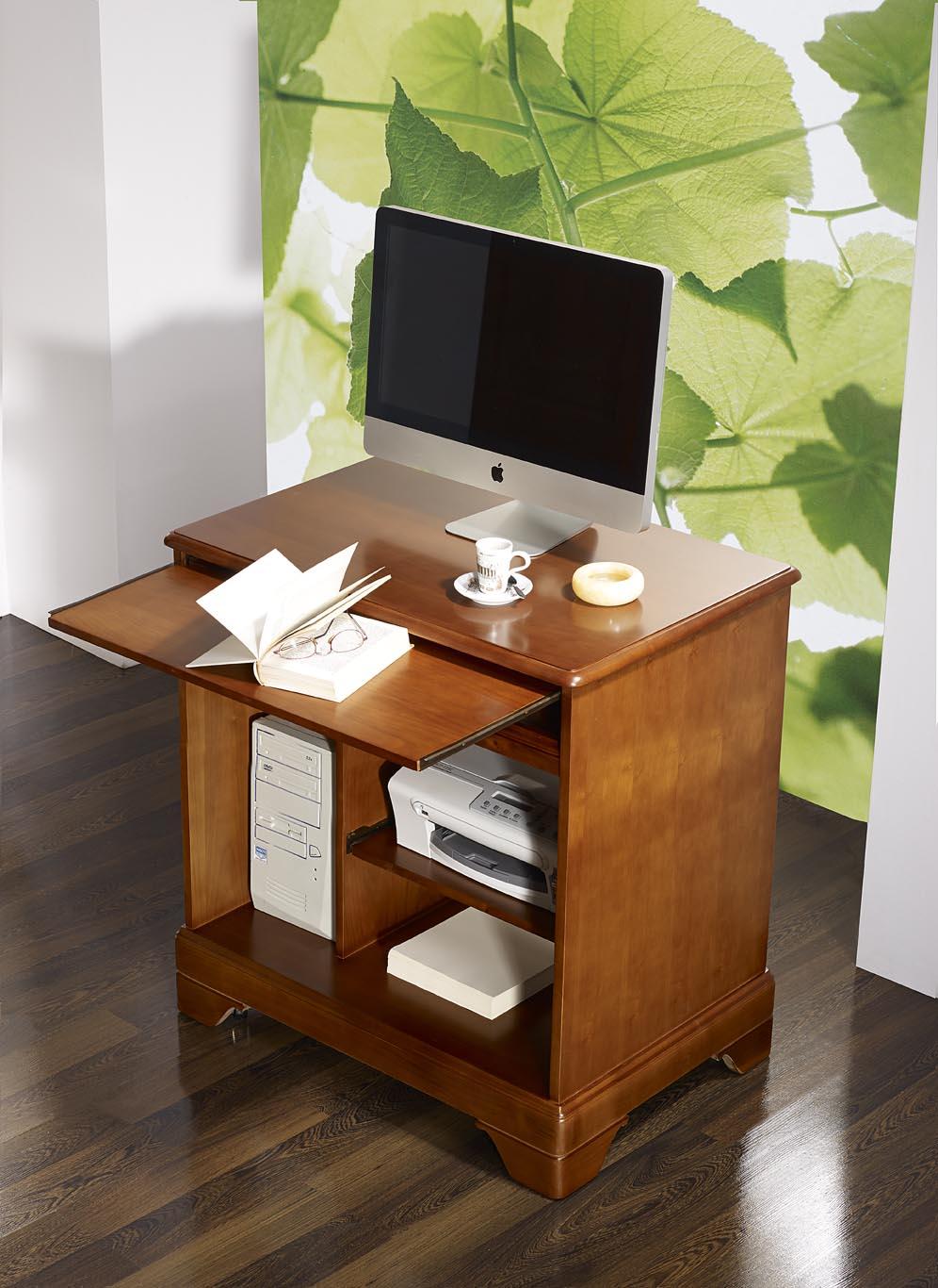 Petit bureau informatique en merisier de style louis for Petit meuble de salon