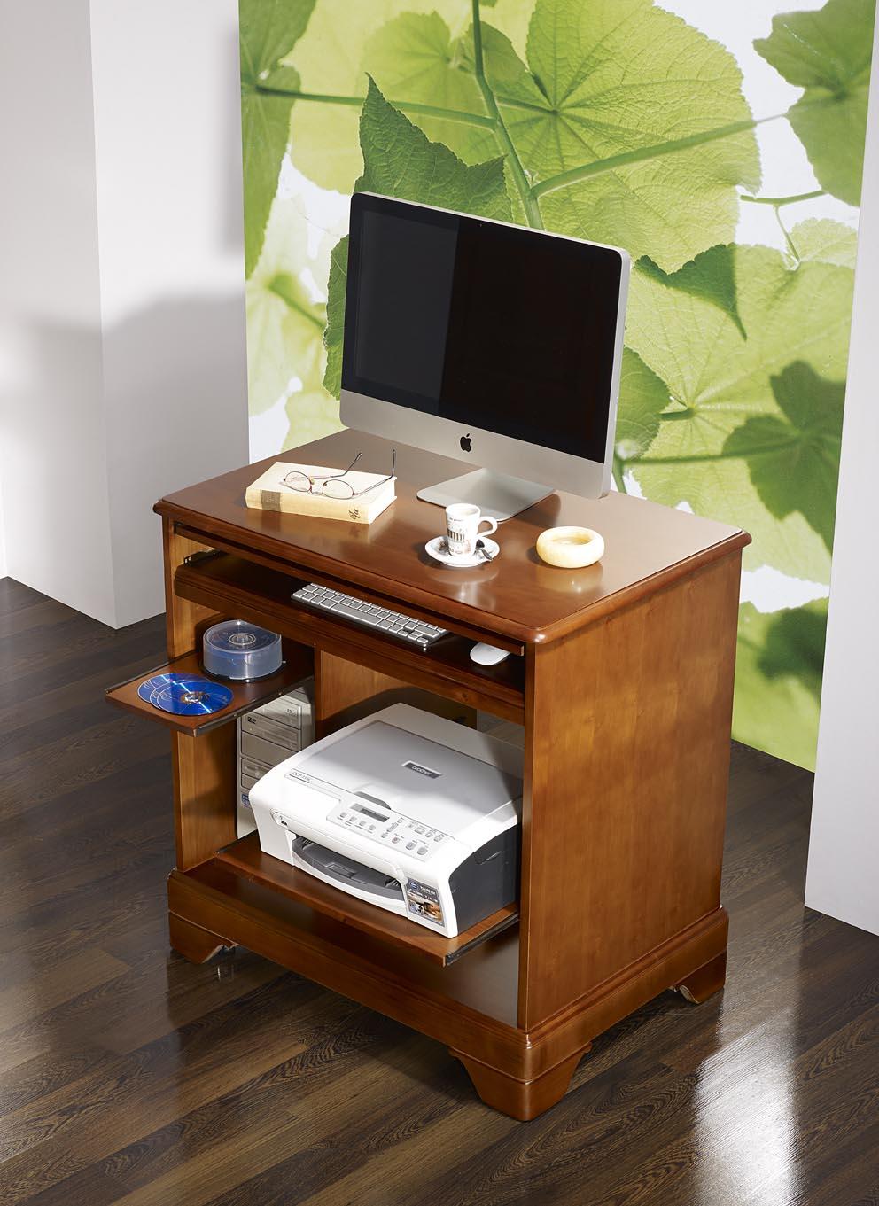 Petit bureau informatique en merisier de style louis - Bureau informatique en pin ...