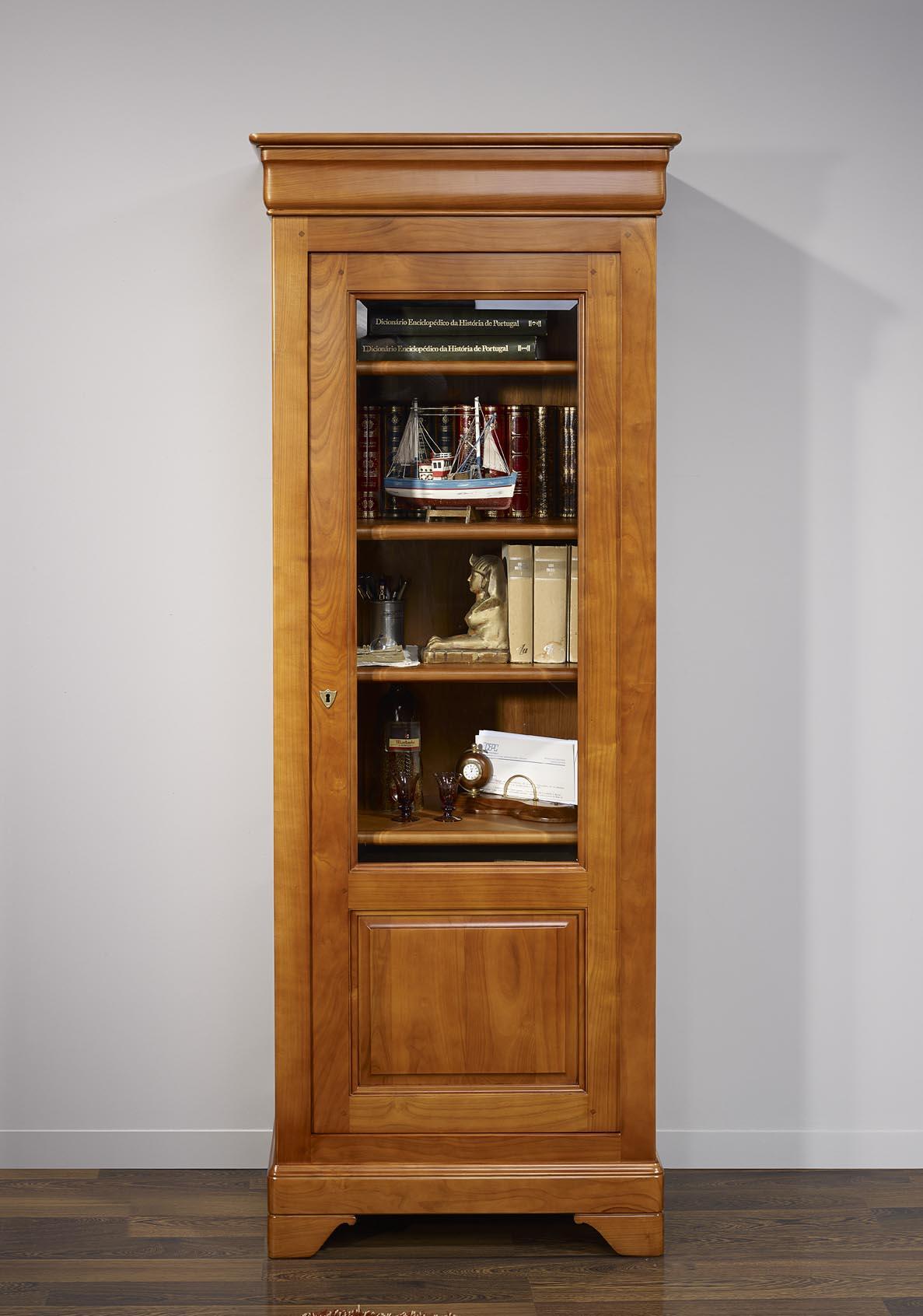 Vitrine 1 porte clarisse en merisier massif de style louis philippe meuble - Petite porte en bois ...