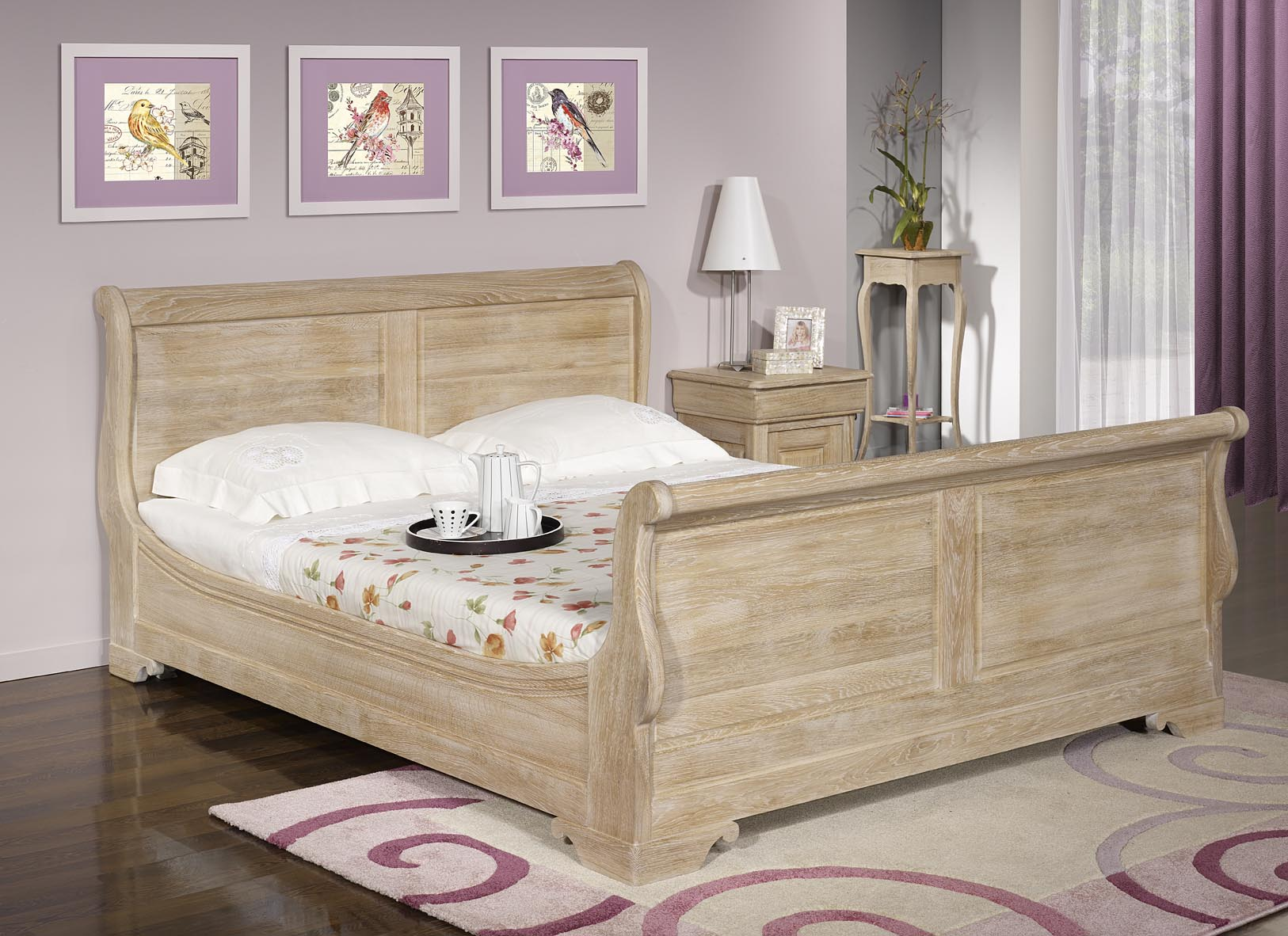 lit bateau en ch ne massif 160 200 de style louis philippe. Black Bedroom Furniture Sets. Home Design Ideas