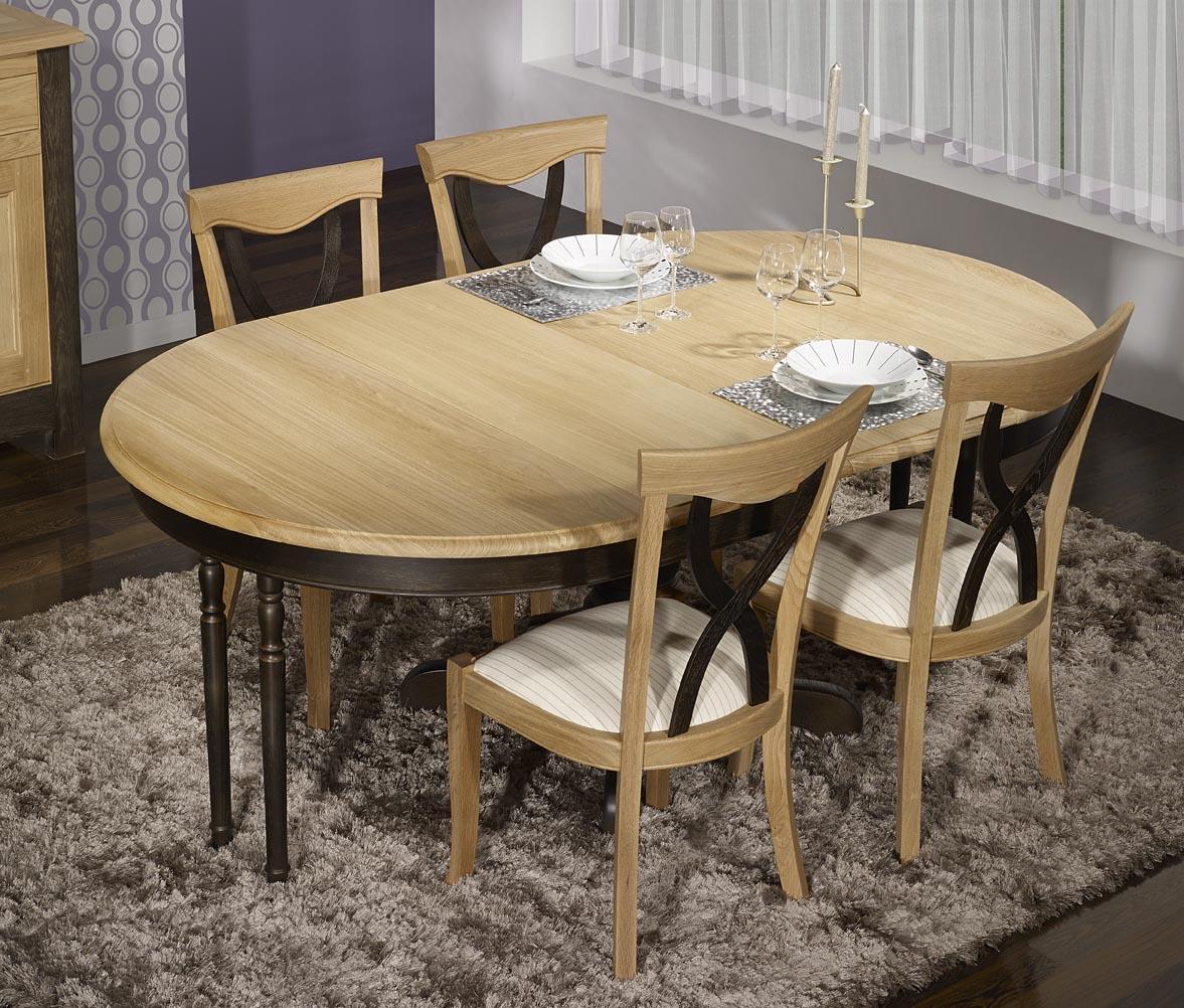 d9d0a547588f52 Table ronde pied central en Chêne Massif de style Louis Philippe DIAMETRE  120 - 2 allonges de 40 cm Finition Chêne Brossé Naturel et Noir délavé ,  meuble en ...
