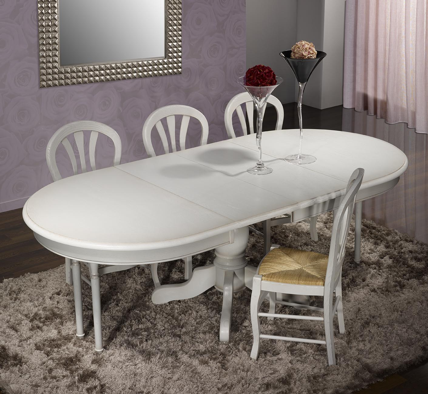 Table ovale pied central romain en ch ne massif de style for Table ovale chene massif