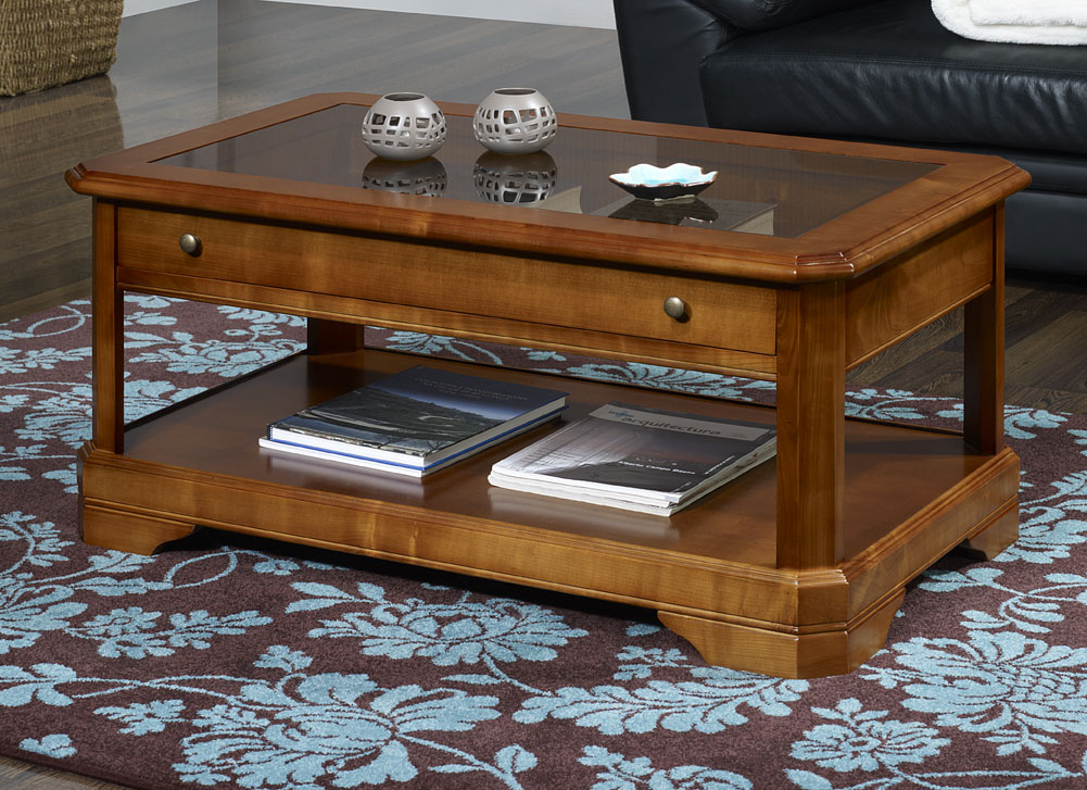 Table basse en merisier massif de style louis philippe for Table a repasser largeur 52
