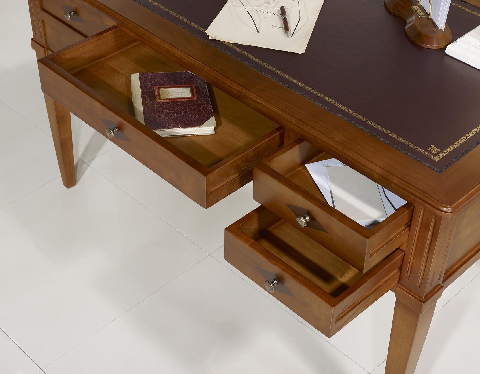 bureau ministre en merisier massif de style directoire surface d 39 criture chocolat meuble en. Black Bedroom Furniture Sets. Home Design Ideas