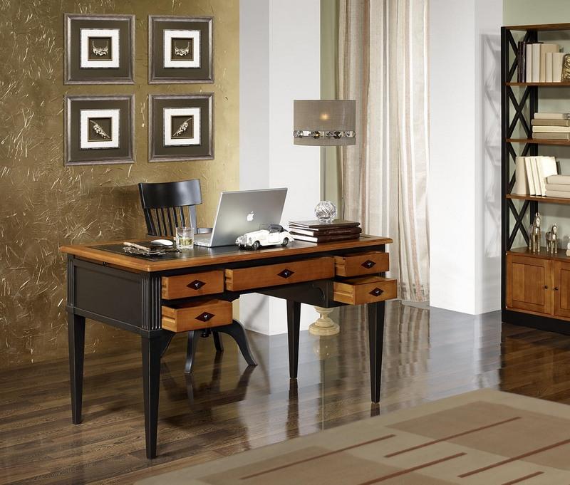 bureau ministre en merisier massif de style directoire patine noir meuble en merisier massif. Black Bedroom Furniture Sets. Home Design Ideas