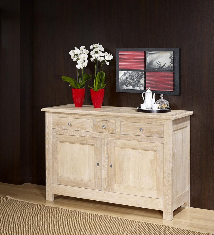 buffet 2 portes en ch ne massif de style campagnard finition ch ne bross blanchi meuble en. Black Bedroom Furniture Sets. Home Design Ideas