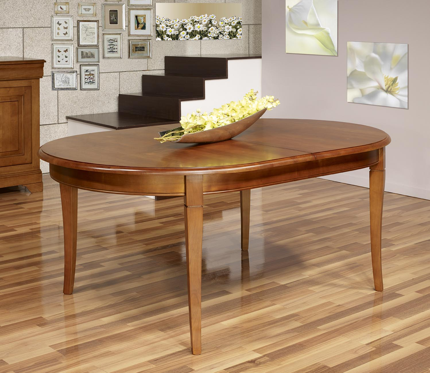 Table ovale constance 180 120 en merisier massif de style for Table ovale allonge
