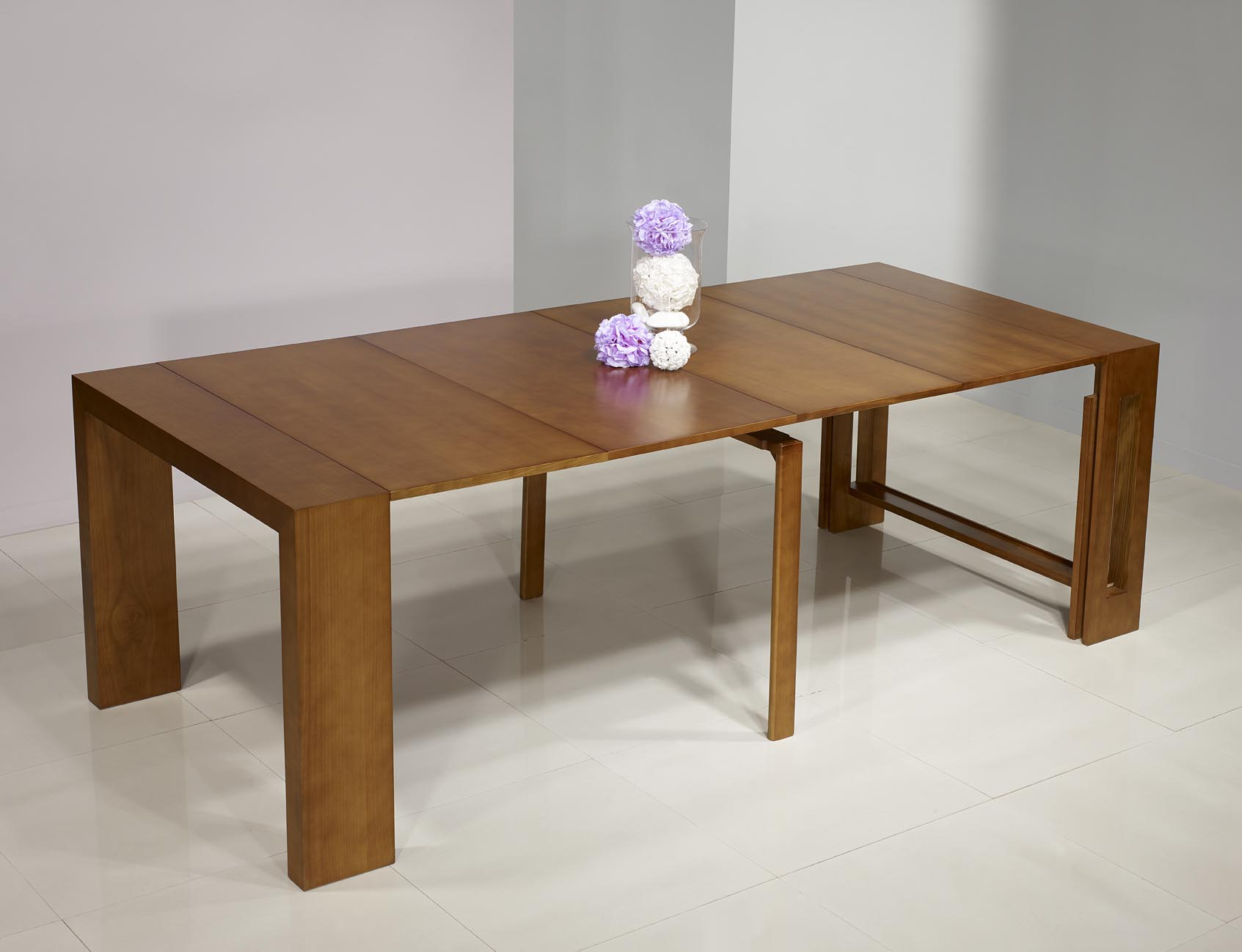 Console extensible en ch ne contemporaine 4 allonges meuble en ch ne massif - Table console extensible chene ...