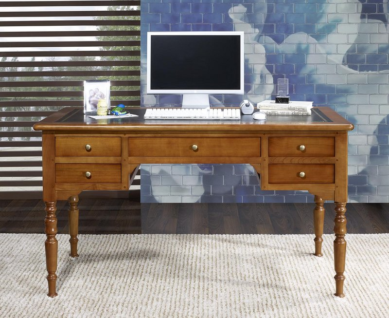bureau ministre 5 tiroirs louis en merisier massif de style louis philippe surface d 39 criture en. Black Bedroom Furniture Sets. Home Design Ideas